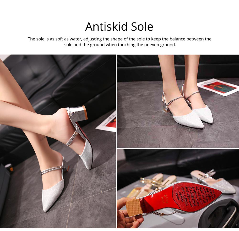 New Women's Spiked Single Shoes 2019 Summer, Coarse-heeled Golden Silver Sandals for Night Club 4