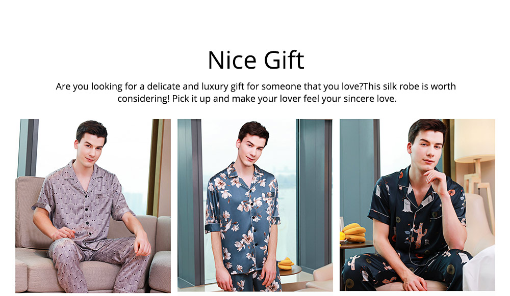 Men's Luxury Silk Sleepwear Short Sleeve Top+Long Pant Pajamas Set Soft Loungewear Men Gifts for Summer Wear 5