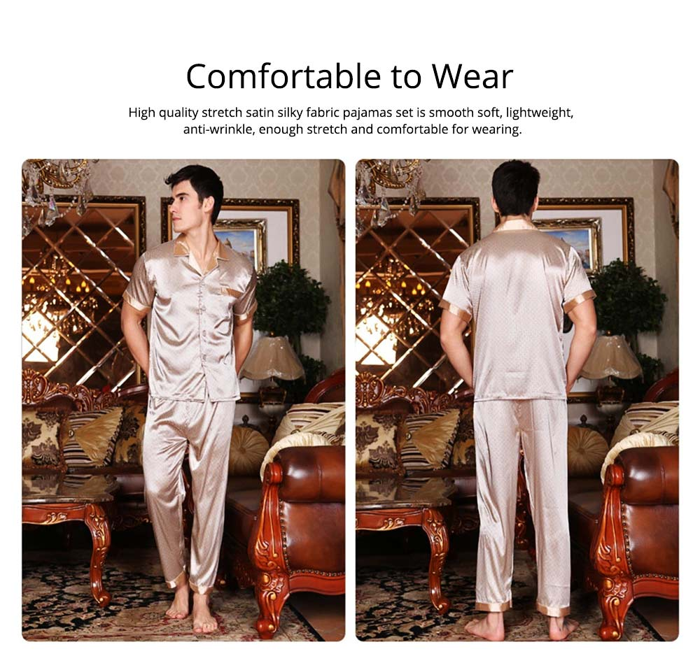 Mens Silk Satin Sleepwear Short Sleeve Top + Long Pant Pajamas Set Button-Down Long Loungewear Best Gifts for Men 1