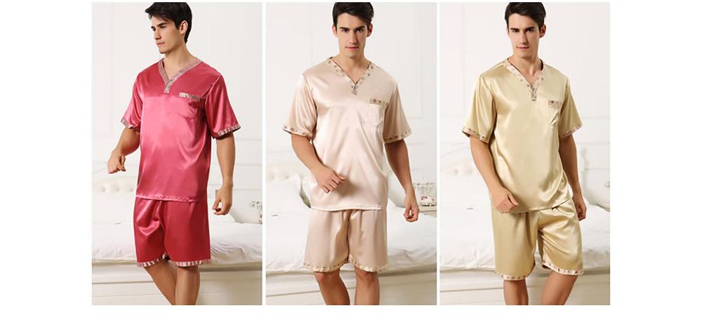 Men's Luxury Silk Sleepwear Comfortable Short Sleeve Top +Shorts Pajamas Set Best Gifts for Men 8