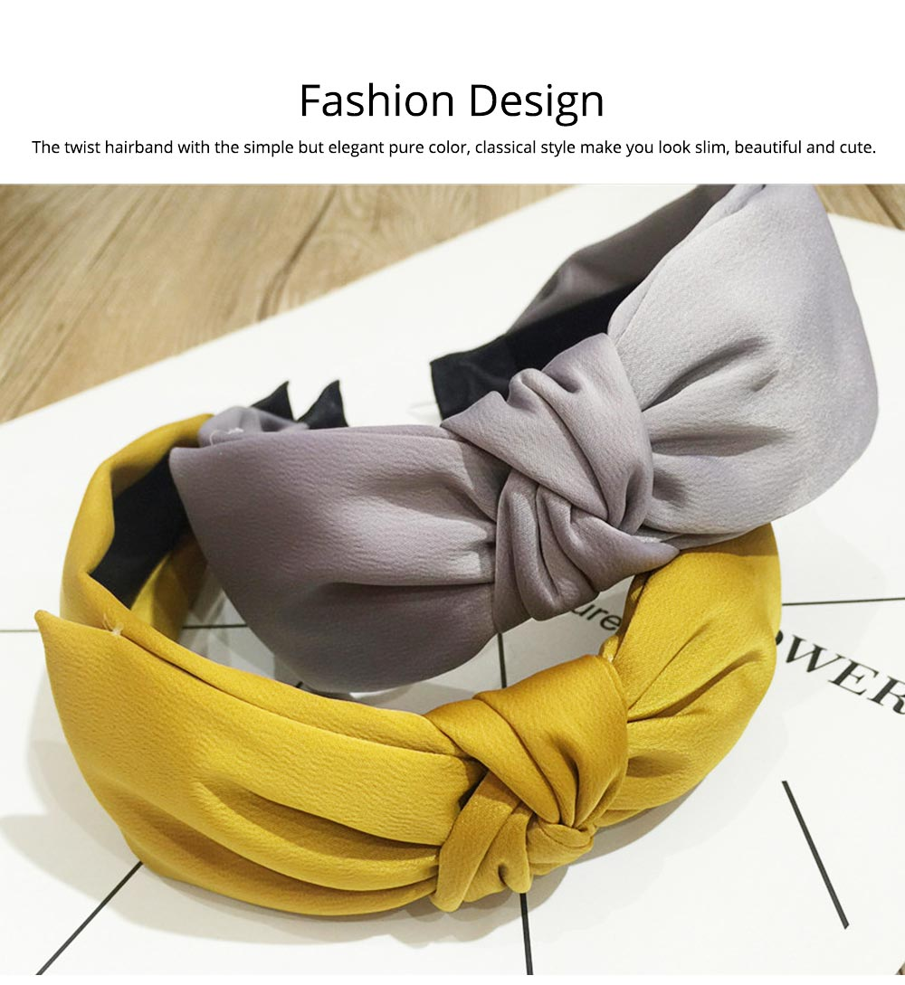Bow Knot Headbands Pure Color Elastic Head Wrap Twist Knot Hairbands Cross Wide Headbands for Women 2