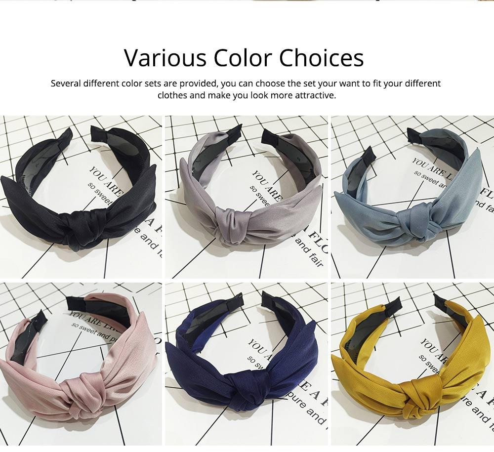 Bow Knot Headbands Pure Color Elastic Head Wrap Twist Knot Hairbands Cross Wide Headbands for Women 4