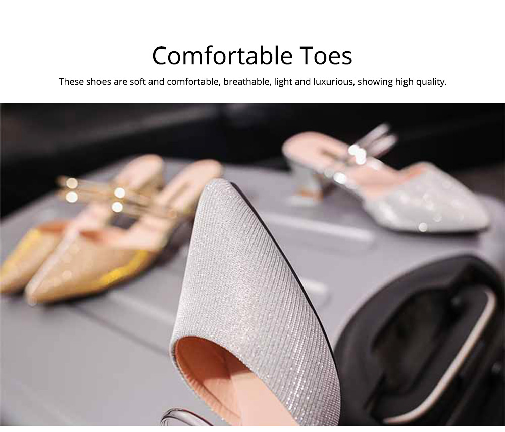 New Women's Spiked Single Shoes 2019 Summer, Coarse-heeled Golden Silver Sandals for Night Club 1