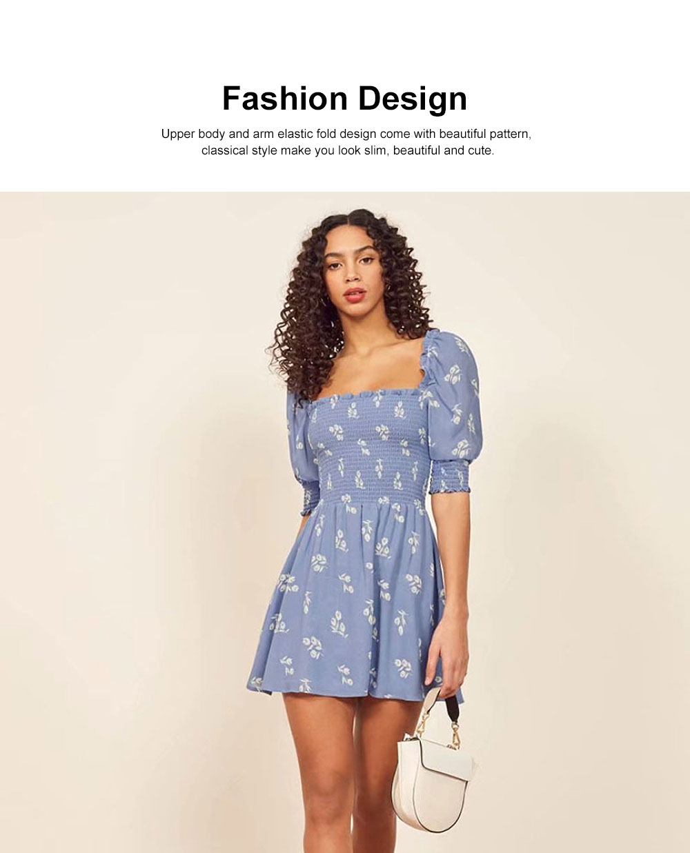One Piece French Style Women Dress Pleated &High Waist Knee Length Summer Dress Ruffle Sleeve Dress for Women's Gifts 2