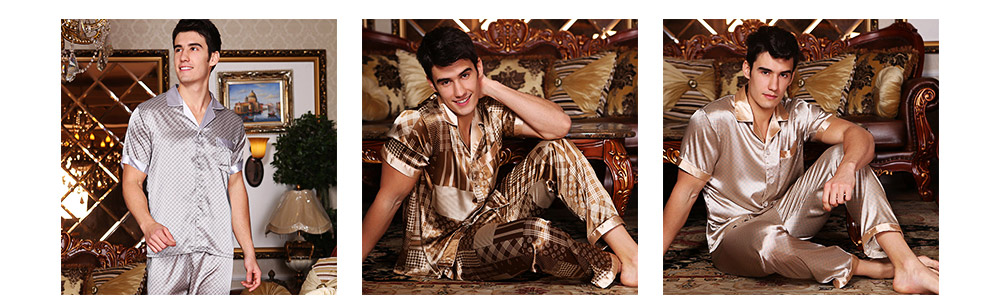 Mens Silk Satin Sleepwear Short Sleeve Top + Long Pant Pajamas Set Button-Down Long Loungewear Best Gifts for Men 7