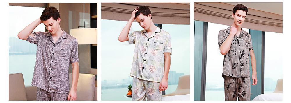 Men's Luxury Silk Sleepwear Short Sleeve Top+Long Pant Pajamas Set Soft Loungewear Men Gifts for Summer Wear 6