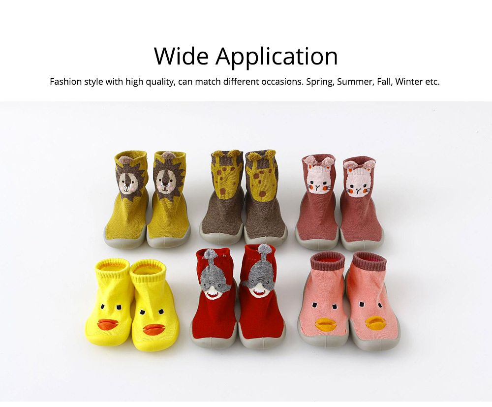 Baby Toddler Walking Shoes Non-skid Socks Rubber Sole Animal Slipper Winter Warm Shoes Socks For Fall Winter Spring 5