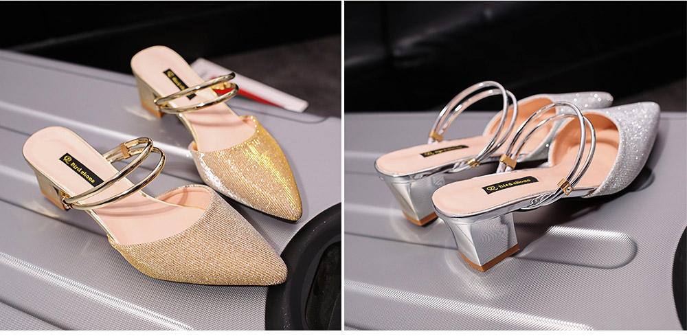 New Women's Spiked Single Shoes 2019 Summer, Coarse-heeled Golden Silver Sandals for Night Club 3