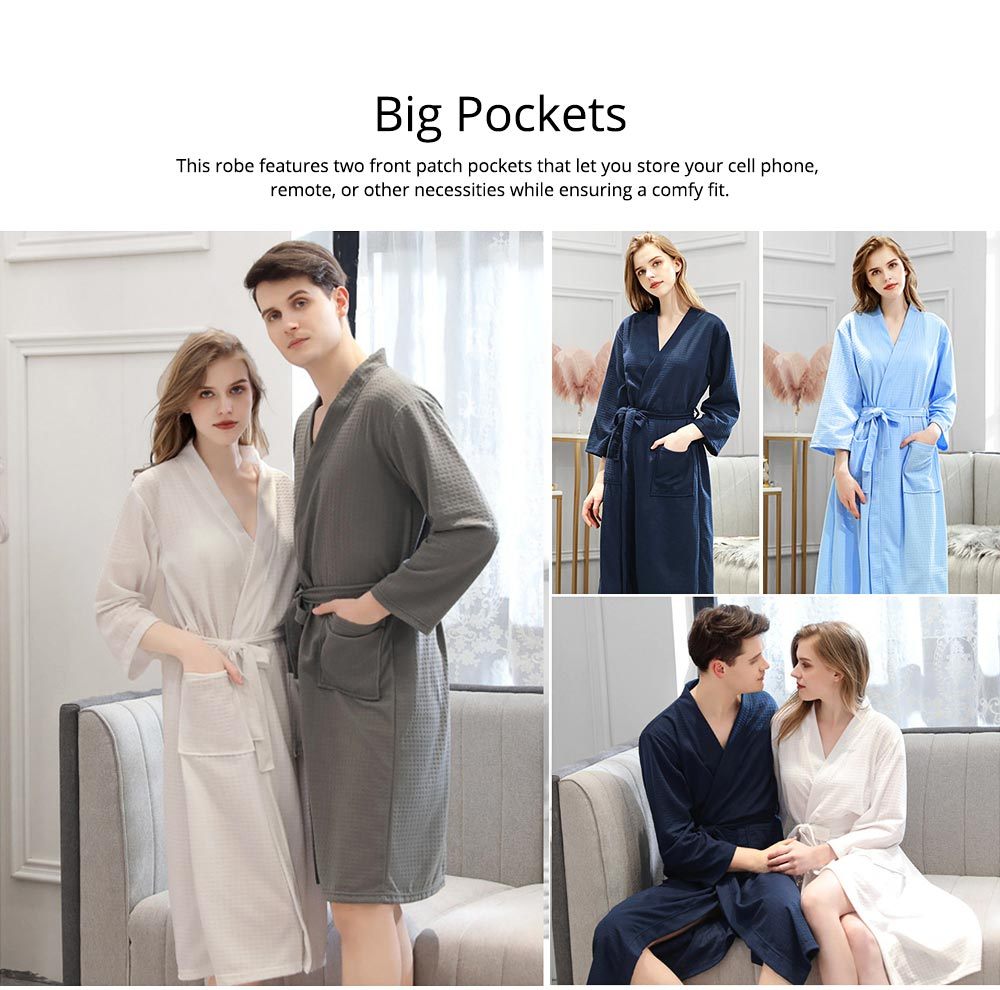 Waffle Kimono Robes Knee Length Comfortable Soft Bath Robes Spa Pajamas Sleepwear for Women Men 4