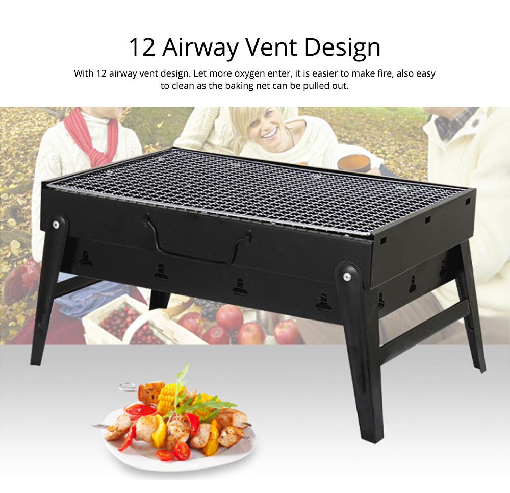 Portable Barbecue Grill Lightweight Charcoal Grill Foldable Premium BBQ Grill for Outdoor Camping Travel Park Beach Wild 2