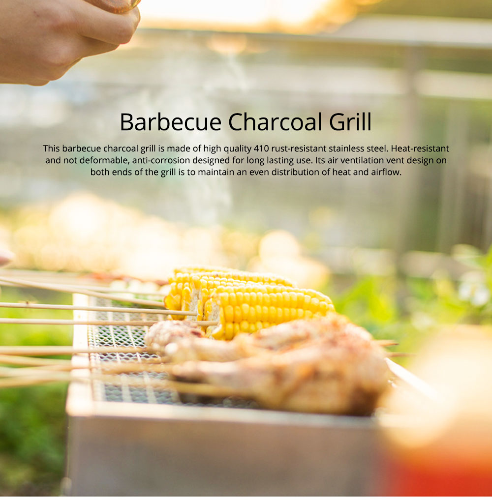 Barbecue Charcoal Grill Stainless Steel Portable Folding BBQ Tool Kits for Outdoor Camping Travel Park Beach Wild 0