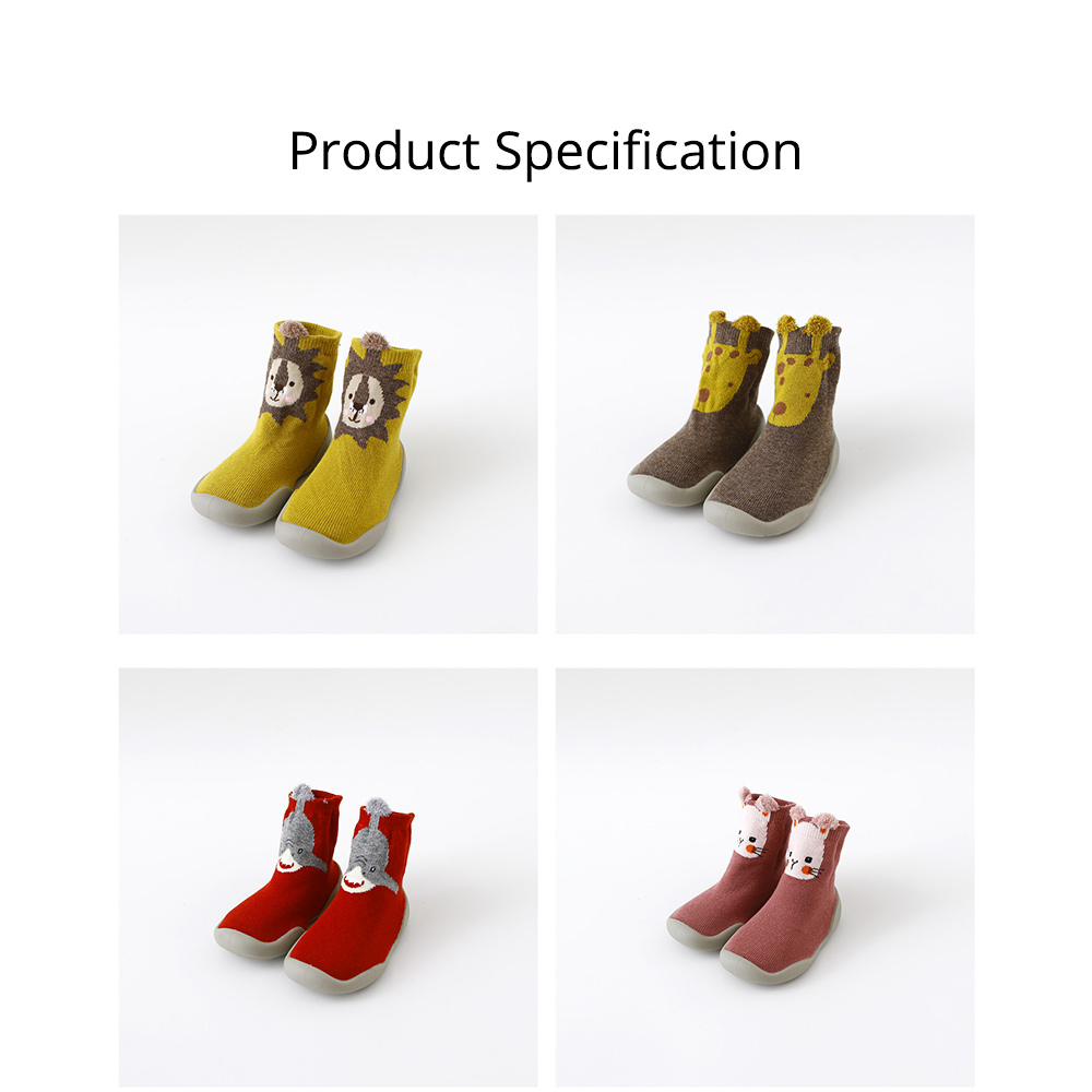 Baby Toddler Walking Shoes Non-skid Socks Rubber Sole Animal Slipper Winter Warm Shoes Socks For Fall Winter Spring 6