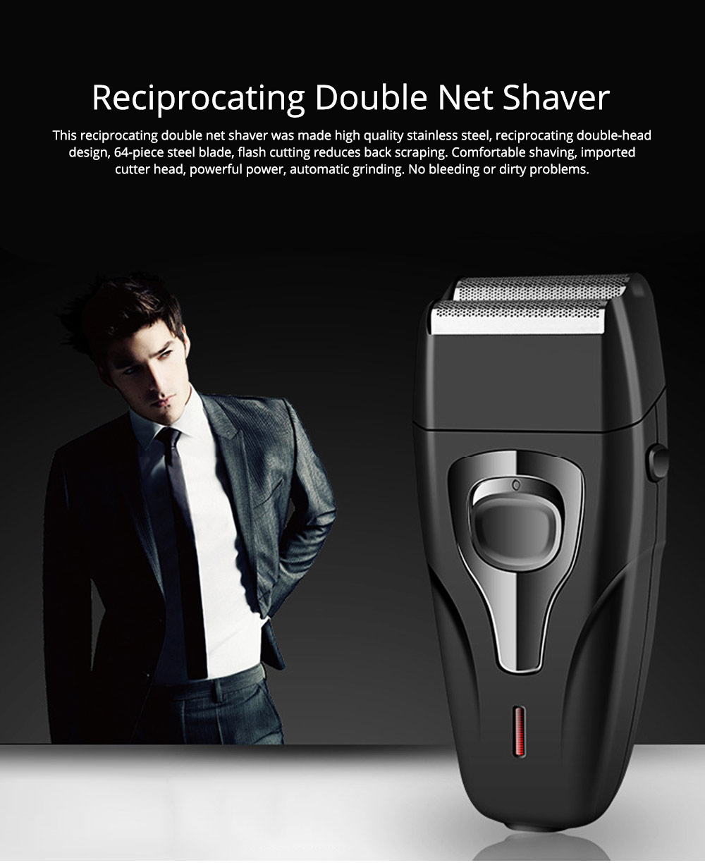 Men's Razor Reciprocating Double Net Shaver Charging Beard Stainless Steel Knife Best Gifts for Men 0
