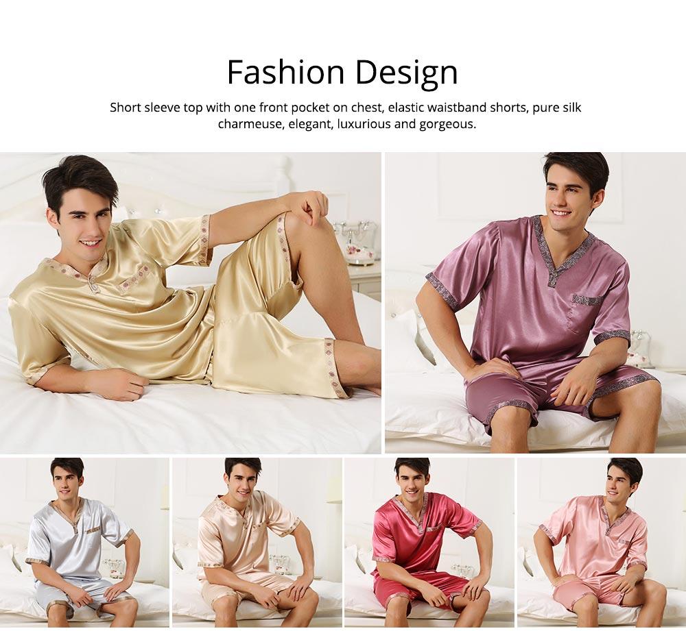 Men's Luxury Silk Sleepwear Comfortable Short Sleeve Top +Shorts Pajamas Set Best Gifts for Men 1