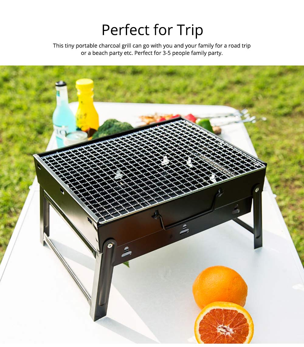 Portable Barbecue Grill Lightweight Charcoal Grill Foldable Premium BBQ Grill for Outdoor Camping Travel Park Beach Wild 5