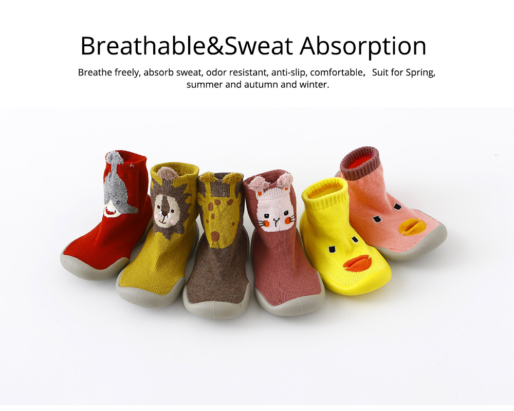 Baby Toddler Walking Shoes Non-skid Socks Rubber Sole Animal Slipper Winter Warm Shoes Socks For Fall Winter Spring 2