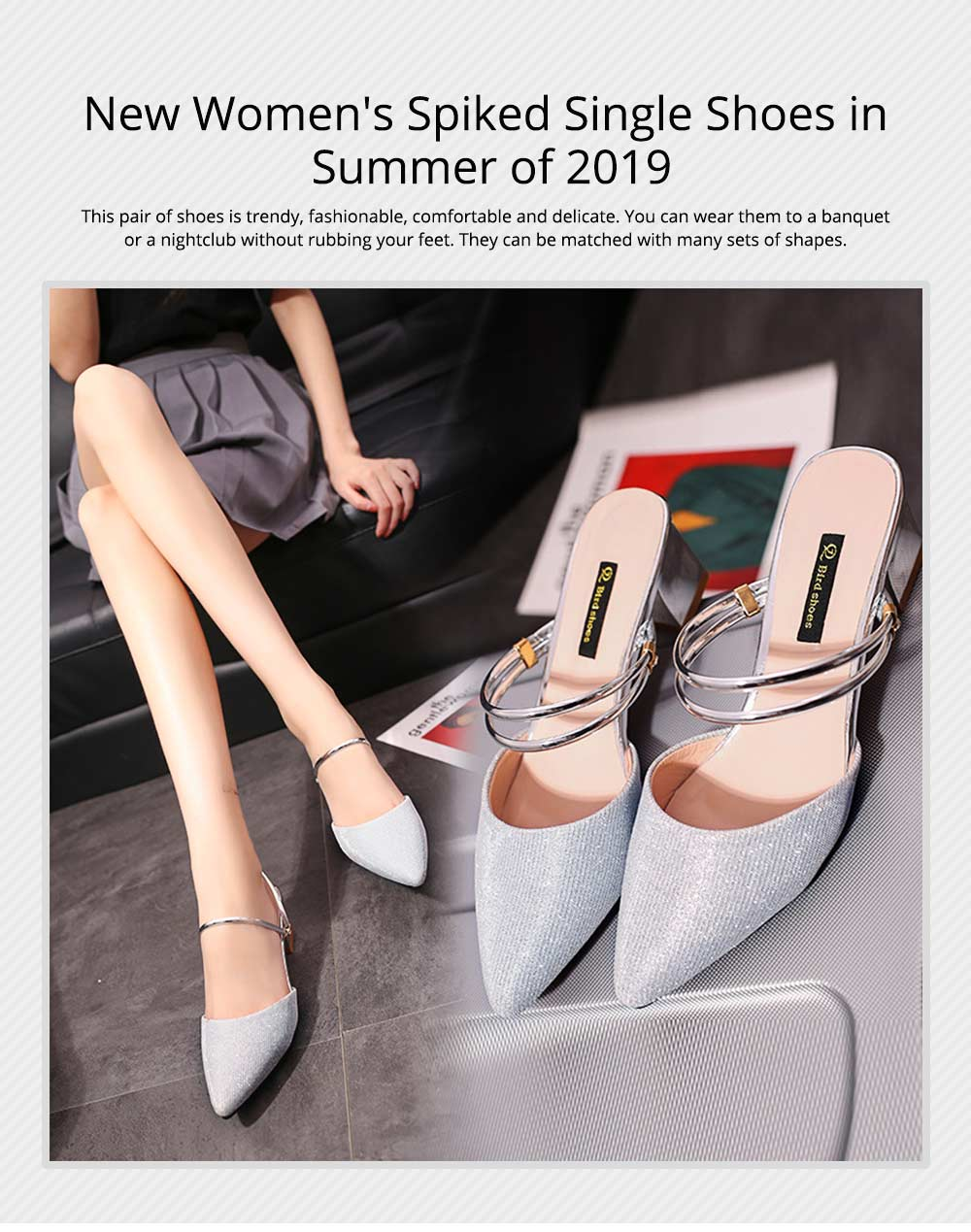 New Women's Spiked Single Shoes 2019 Summer, Coarse-heeled Golden Silver Sandals for Night Club 0