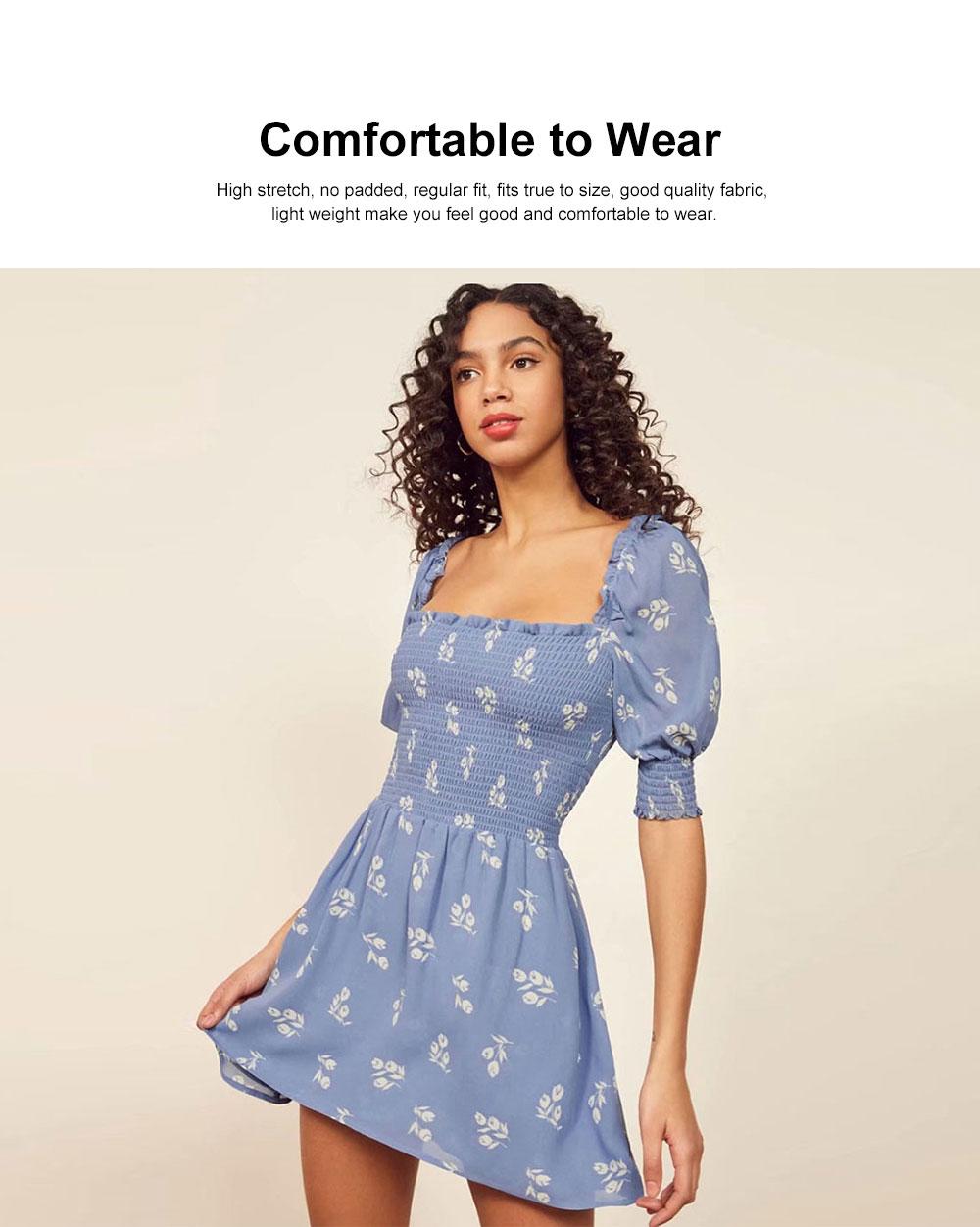 One Piece French Style Women Dress Pleated &High Waist Knee Length Summer Dress Ruffle Sleeve Dress for Women's Gifts 1