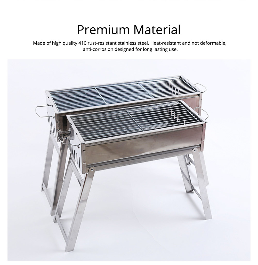 Barbecue Charcoal Grill Stainless Steel Portable Folding BBQ Tool Kits for Outdoor Camping Travel Park Beach Wild 4