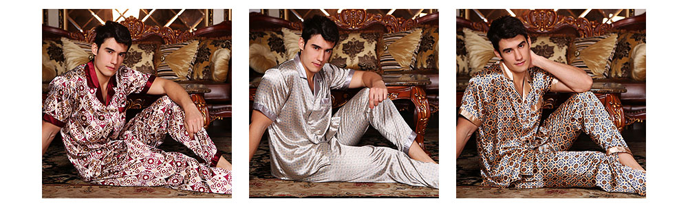Mens Silk Satin Sleepwear Short Sleeve Top + Long Pant Pajamas Set Button-Down Long Loungewear Best Gifts for Men 8