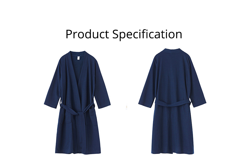 Waffle Kimono Robes Knee Length Comfortable Soft Bath Robes Spa Pajamas Sleepwear for Women Men 6