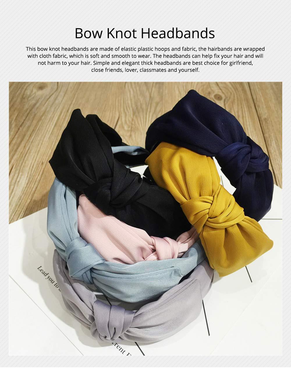 Bow Knot Headbands Pure Color Elastic Head Wrap Twist Knot Hairbands Cross Wide Headbands for Women 0