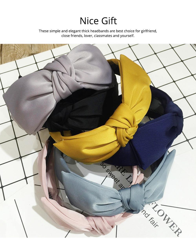 Bow Knot Headbands Pure Color Elastic Head Wrap Twist Knot Hairbands Cross Wide Headbands for Women 5