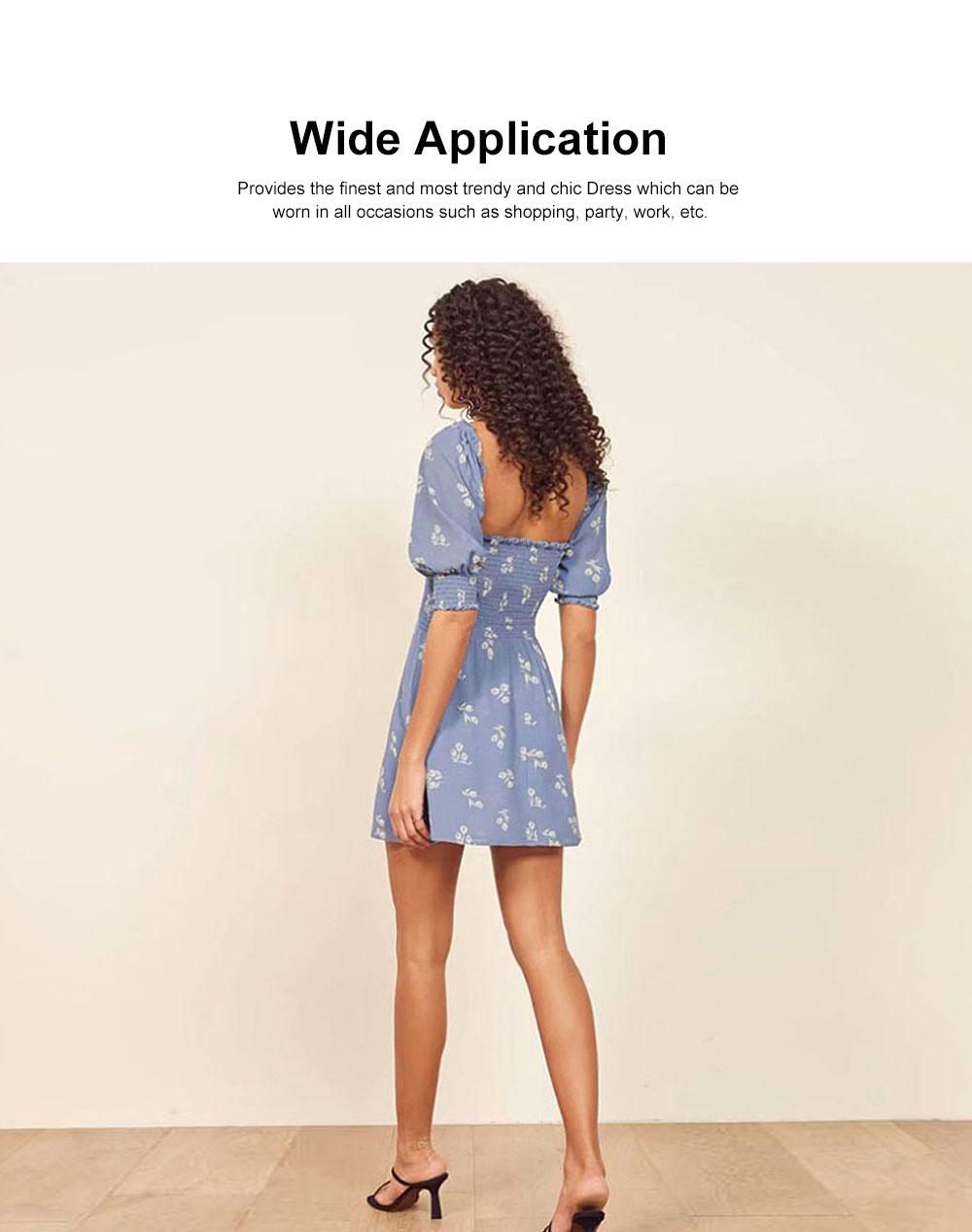 One Piece French Style Women Dress Pleated &High Waist Knee Length Summer Dress Ruffle Sleeve Dress for Women's Gifts 3