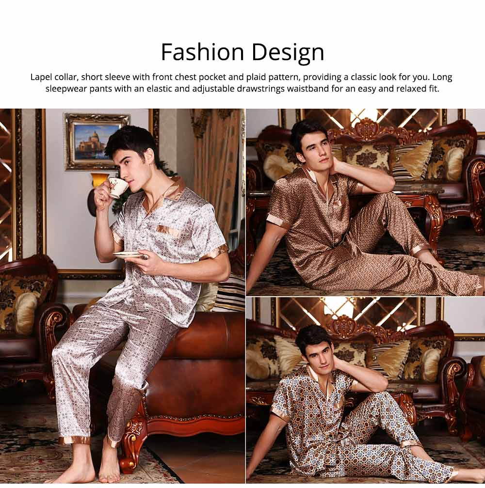 Mens Silk Satin Sleepwear Short Sleeve Top + Long Pant Pajamas Set Button-Down Long Loungewear Best Gifts for Men 4