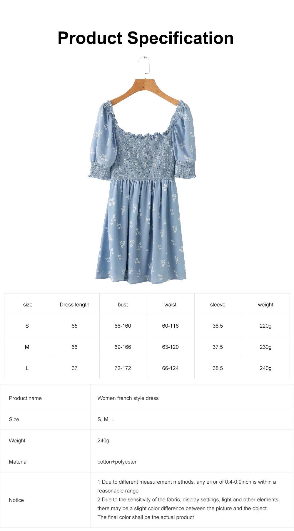 One Piece French Style Women Dress Pleated &High Waist Knee Length Summer Dress Ruffle Sleeve Dress for Women's Gifts 6