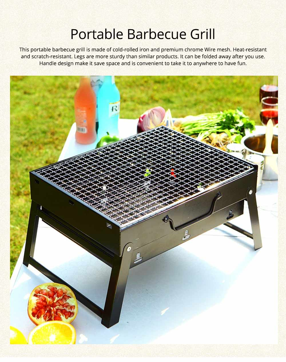 Portable Barbecue Grill Lightweight Charcoal Grill Foldable Premium BBQ Grill for Outdoor Camping Travel Park Beach Wild 0