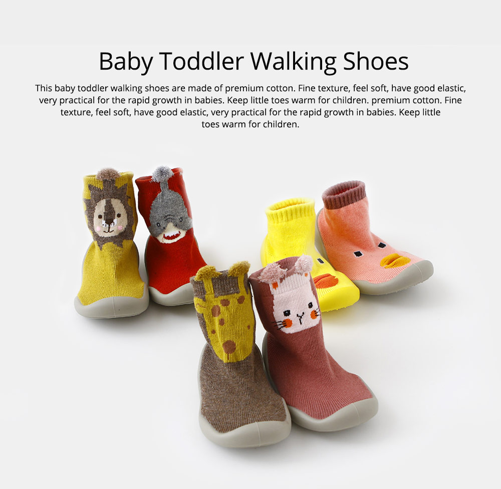 Baby Toddler Walking Shoes Non-skid Socks Rubber Sole Animal Slipper Winter Warm Shoes Socks For Fall Winter Spring 0