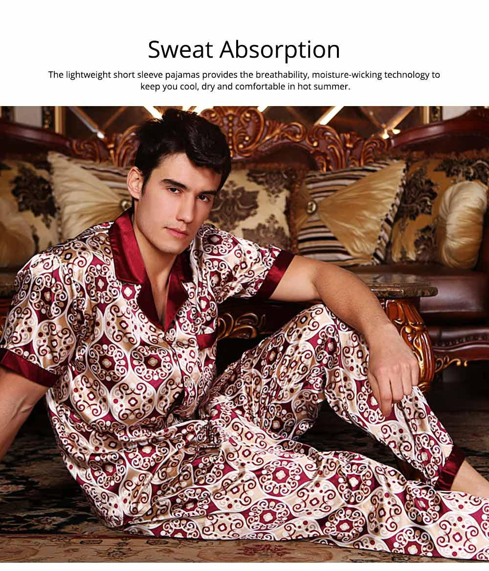 Mens Silk Satin Sleepwear Short Sleeve Top + Long Pant Pajamas Set Button-Down Long Loungewear Best Gifts for Men 2