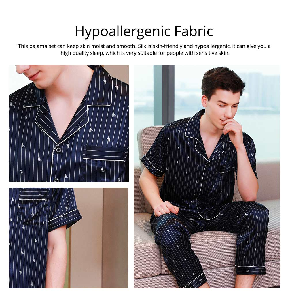 Men's Luxury Silk Sleepwear Short Sleeve Top+Long Pant Pajamas Set Soft Loungewear Men Gifts for Summer Wear 1