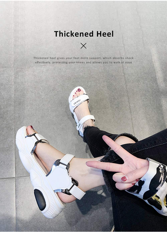 Women Scandal Elastic Adjustable Velcro Strap Shoe Breathable Athletic Open Toe Shoe Bear Bottom for Walking Running 4