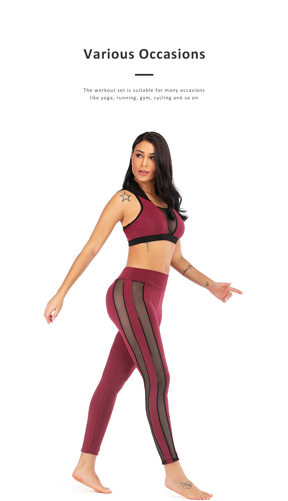 Women Jogging Sport Suit Workout Set Gauze Splicing Stretchy Comfortable 2 Pieces Suits Breathing High Waist Pant & Top Athletic Outfit 5