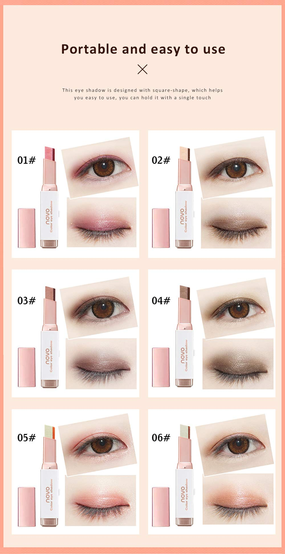 Professional Double Colors Eyeshadow Stick Natural Raw Material Eye Shadow Pen Gradient Waterproof Cosmetics 2