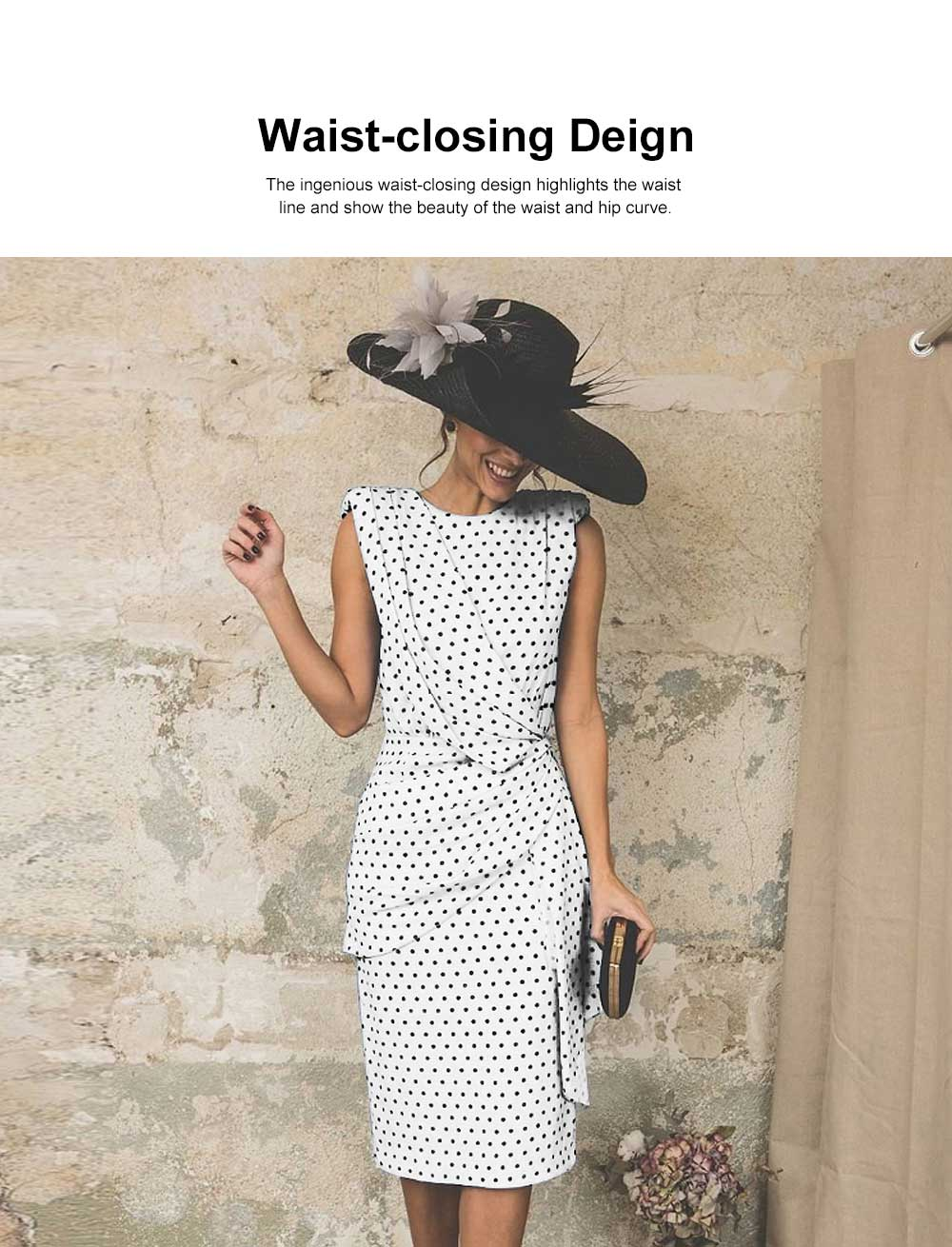 Polka Dot Sheath Dress for Women Knee Length, Backless Design Multi-layer Sexy Bag Hip Tight Dress 3
