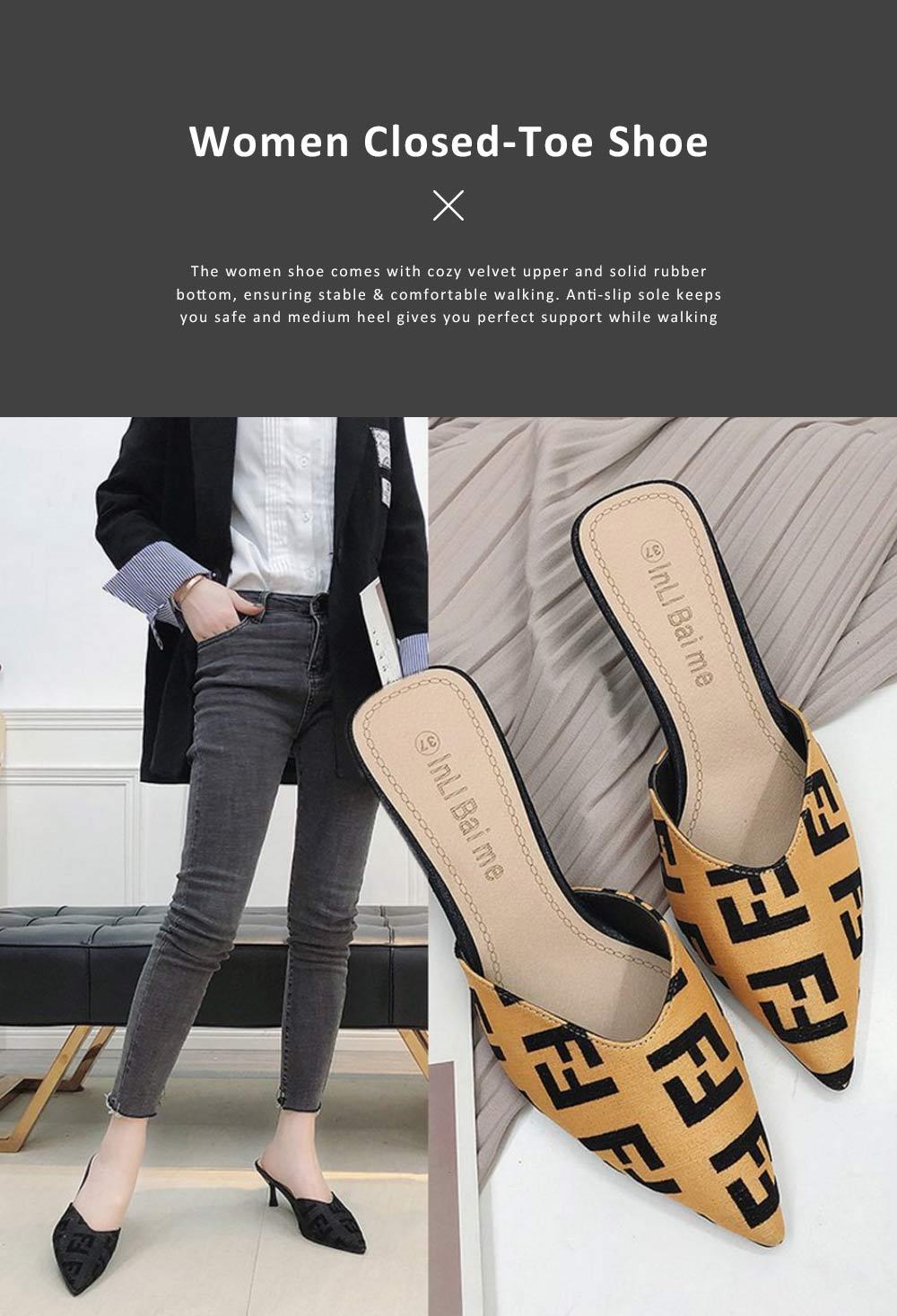 Women Closed-Toe Shoe Soft Velvet Solid Rubber Slippery Medium Heel Letter Sandals 0