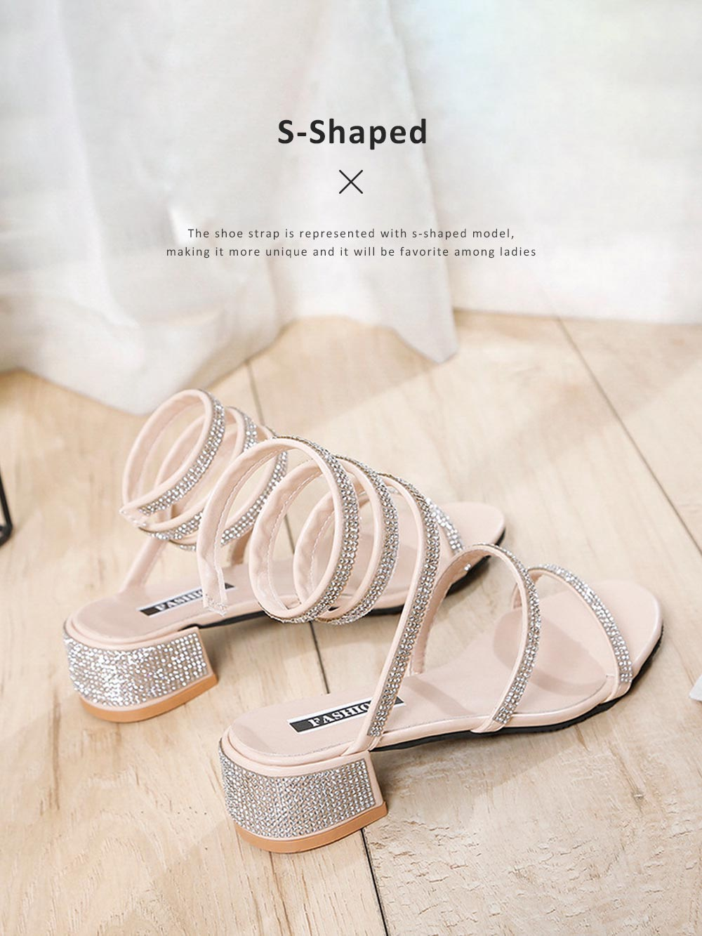Women Sandals With S-shaped Strap PU Rubber Diamond Shoe Fashionable Thick-Heel Open Toe Shoe 4