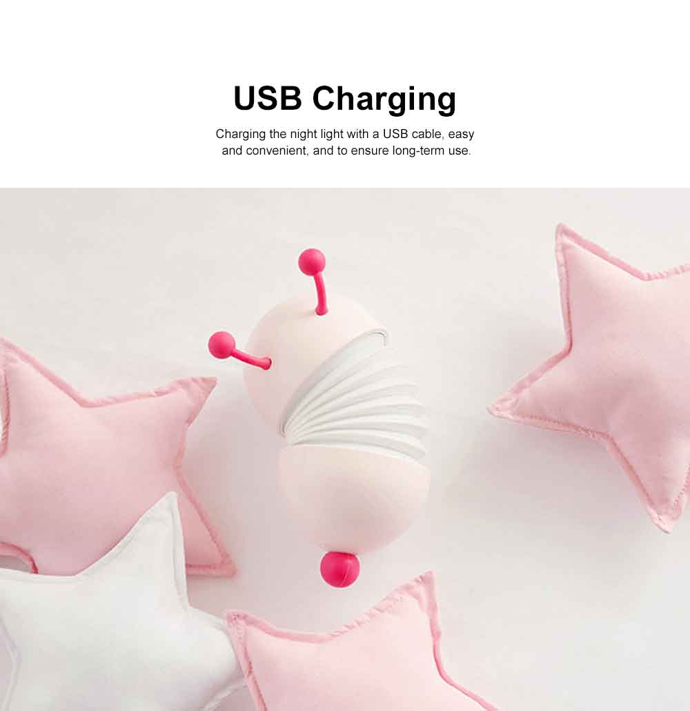 Creative USB LED Rechargeable Wall Lamp with Soft Light, Caterpillar Night Light for Children to Sleep Restful. 6