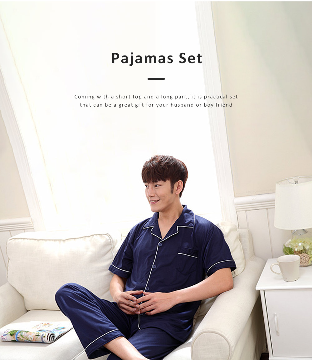 Men Summer Pajamas Set Comfortable Cotton Classic Home Wear Short Sleeve Long Pant Sleepwear 4