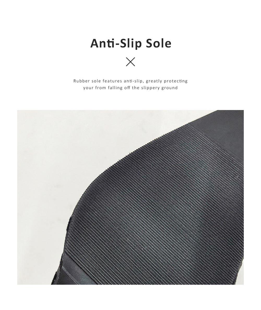 Women Closed-Toe Shoe Soft Velvet Solid Rubber Slippery Medium Heel Letter Sandals 5
