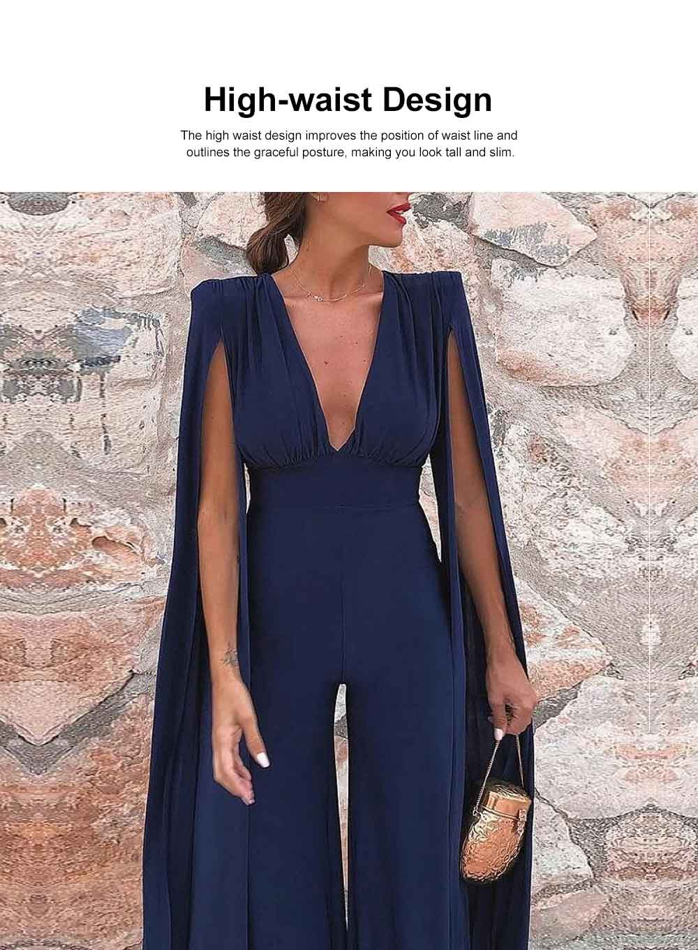2019 Backless Jumpsuit For Lady, Women's Fashion Sexy Party Evening Bodysuits Rompers, Long Sleeve and Loose Trousers 1