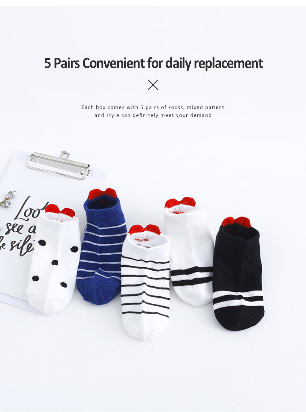 5 Pairs Stripe Ankle Socks Full Cotton Anti-Slip Socks with Grip for Toddler Boy Girl Baby 4-12 Years 4
