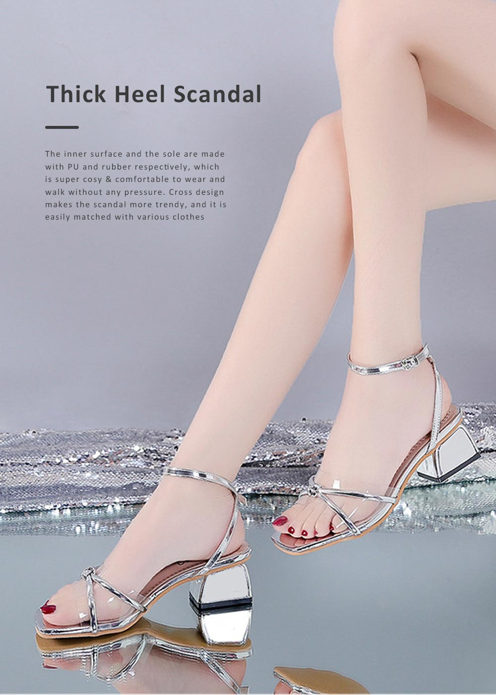 Medium-Height Thick Heel Scandal Transparent Fashion Cross Design PU Rubber Open Toe Shoe with Square Head For Women 0