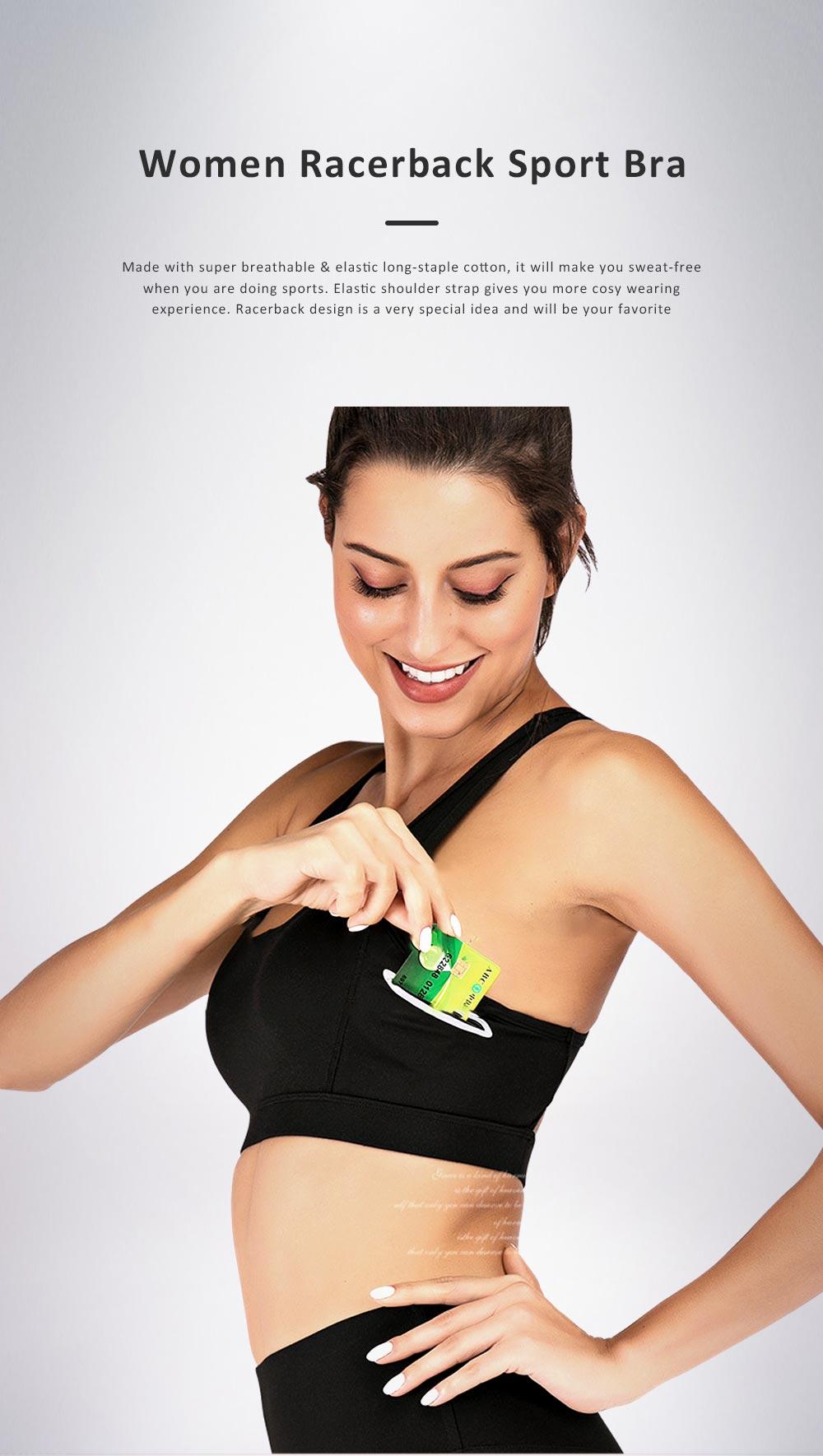 Women Sport Bra Special Racerback Underwear with Elastic Shoulder Strap Side Pocket Sport Wear for Gym 0