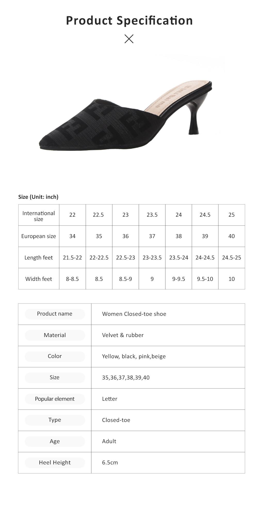Women Closed-Toe Shoe Soft Velvet Solid Rubber Slippery Medium Heel Letter Sandals 6