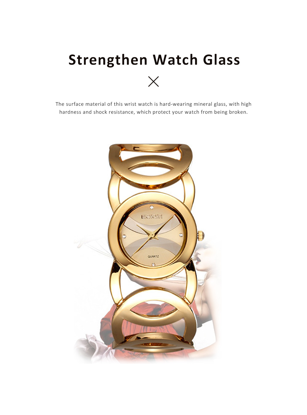 Women Fashionable Chain Bracelet Watch without Readings Hollow Style Wristwatch with Drills 4