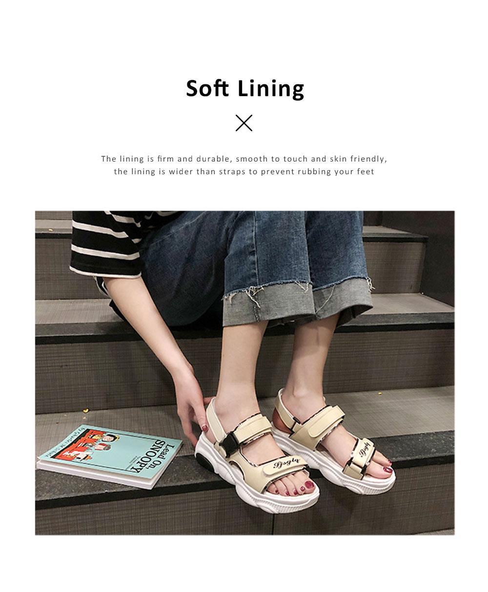 Women Scandal Elastic Adjustable Velcro Strap Shoe Breathable Athletic Open Toe Shoe Bear Bottom for Walking Running 5